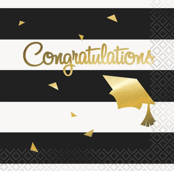 Congratulations Grad - Gold and Striped Napkins